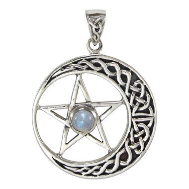 Large Celtic Crescent Moon Pentagram Pentacle Pendant - Sterling Silver with Rainbow Moonstone Jewelry
