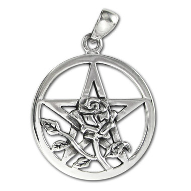 Sterling Silver Rose Flower Pentacle Pentagram Wiccan Pendant Jewelry