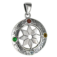 Sterling Silver Zodiac Wheel of the Year Pendant Jewelry