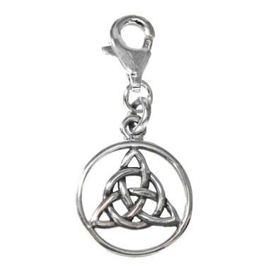 Celtic Encircled Trinity Knot Sterling Silver Clip Charm Pendant Irish Jewelry