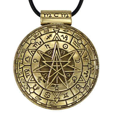 Large Bronze Magic Circle Pentacle Symbolic Pendant - Pagan Wiccan Jewelry