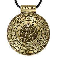 Large Bronze Magic Circle Pentacle Symbolic Pendant - Pagan Wiccan Jewelry