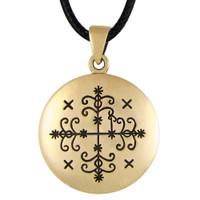 Bronze Papa Legba Voodoo Veve Pendant Necklace