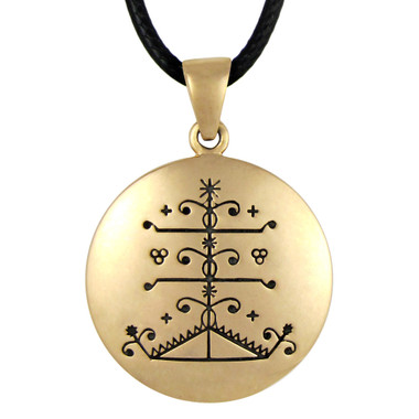Bronze Ogou Feray Voodoo Veve Pendant Necklace