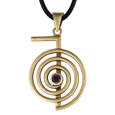Bronze Cho Ku Rei Amethyst Reiki Pendant Jewelry
