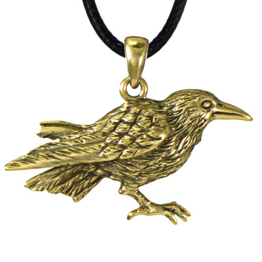 Bronze Raven Crow Totem Pendant - Wisdom and Knowledge Jewelry