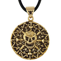 Bronze Skull and Bones Pirate Coin Pendant