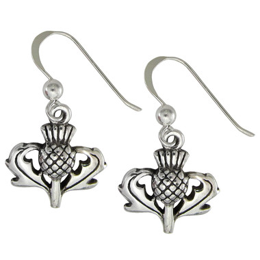 Sterling Silver Scottish Thistle Earrings Heritage Jewelry