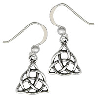 Sterling Silver Triquetra Earrings Dangle Celtic Knot