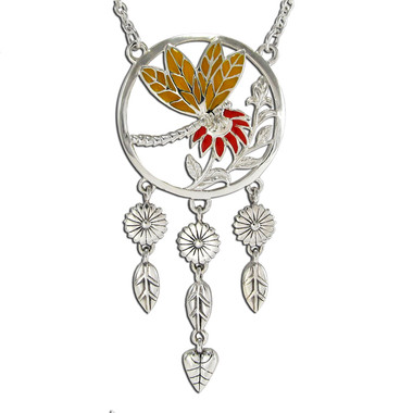 Sterling Silver Dragonfly Necklace with Enamel