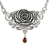Sterling Silver Rose Necklace with Red Garnet