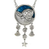 Sterling Silver Turtle Necklace 18 inch chain with Blue Enamel Ocean