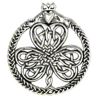 Large Sterling Silver Celtic Shamrock Clover with Claddagh Pendant