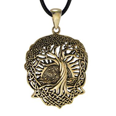 Bronze Celtic Knot World Tree of Life Pendant with Rising Sun