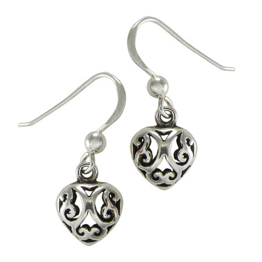 Sterling Silver Celtic Love Knot Heart Filigree Earrings