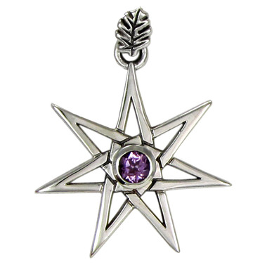 Sterling silver septagram heptagram faery star pendant jewelry with sterling silver septagram heptagram faery star pendant jewelry with amethyst gemstone aloadofball
