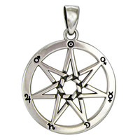 Large Sterling Silver Septagram Heptagram Faery Star Pendant Astrological Symbols Jewelry