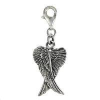 Sterling Silver Folded Angel Wings Clip Charm