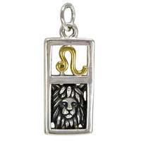Sterling Silver Leo the Lion Zodiac Sign Pendant Charm with Vermeil