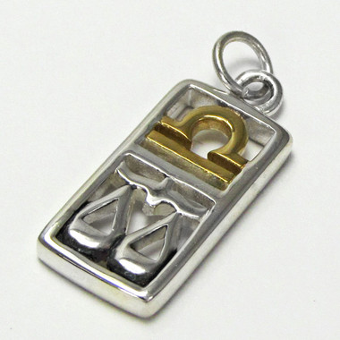 Sterling Silver Libra the Scales Zodiac Sign Pendant Charm with Vermeil