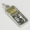 Sterling Silver Gemini the Twins Zodiac Sign Pendant Charm with Vermeil
