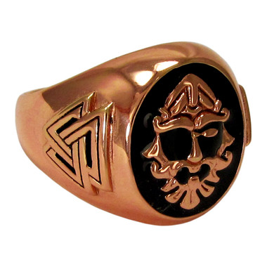 Large Copper Odin Valknut Signet Ring