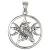 Sterling Silver Raven Moon Phase Pentagram