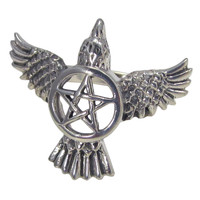 Sterling Silver Raven Pentacle Ring