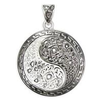 Sterling Silver Yin Yang Symbol Pendant with Celtic Knot Motifs