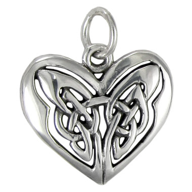 Celtic Sterling Silver Love Knot Heart Pendant Charm Jewelry