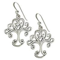 Sterling Silver Art Nouveau Love Knot Tree of Life Heart Earrings Jewelry