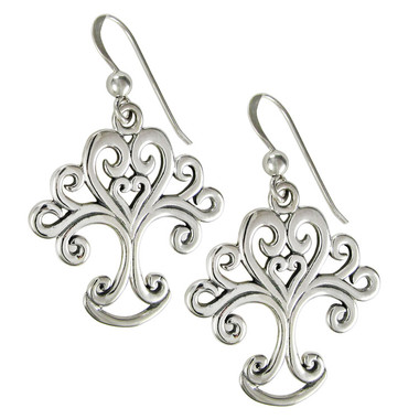 Sterling Silver Art Nouveau Love Knot Tree of Life Heart Earrings Jewelry