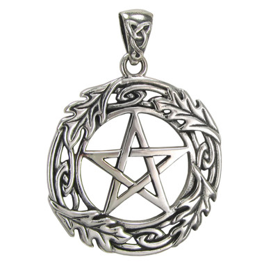 Sterling Silver Oak Leaf Pentagram Pentacle Pendant