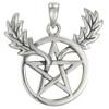 Sterling Silver Horned Oak Leaf Pentacle Pendant