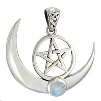 Large Sterling Silver Crescent Moon Pentacle with Rainbow Moonstone