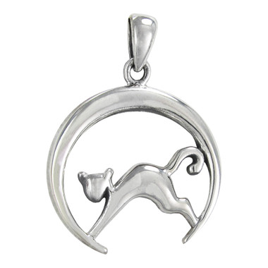 Sterling silver cat and crescent moon pendant moonlight mysteries sterling silver cat and crescent moon pendant aloadofball Gallery