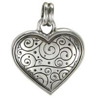 Sterling Silver Stylized Modern Heart Pendant
