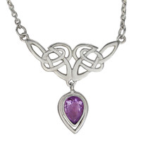 Sterling Silver Celtic Knot Amethyst Drop Necklace