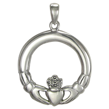 Sterling Silver Circular Claddagh Pendant