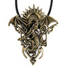 Bronze Tribal Celtic Dragon Pendant with Rising Sun Jewelry