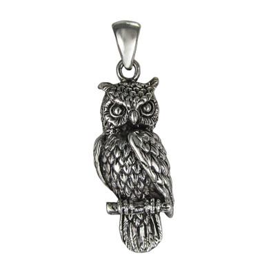 Sterling Silver Owl Pendant Symbol of Wisdom Jewelry