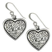 Sterling Silver Spiral Heart Earrings