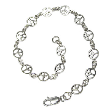Sterling Silver Peace Sign Symbol Link Bracelet