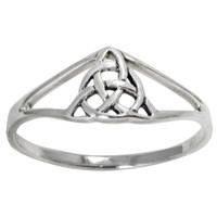 Sterling Silver Trinity Knot Slender Band Ring