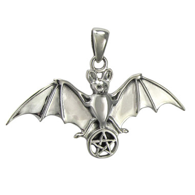 Sterling Silver Bat with Pentacle Pendant