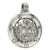 Sterling Silver Green Man Pendant with Alchemical Symbols Jewelry