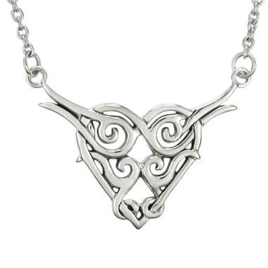 Sterling Silver Celtic Knot Entwined Heart Necklace
