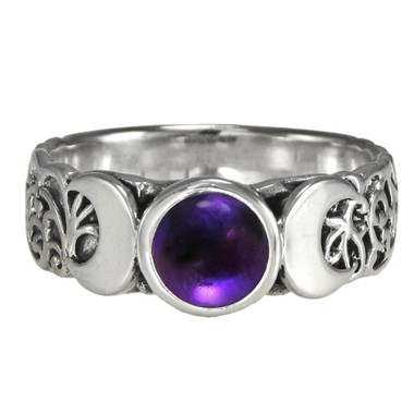 Sterling Silver Triple Moon Ring with Amethyst