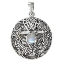 Sterling Silver Large Moon Pentacle Pendant with Rainbow Moonstone