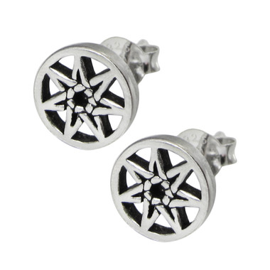 Sterling Silver Septagram Stud Earrings